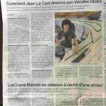 Article du OUEST FRANCE sur le financement de Jean Le Cam au Vendée Globe